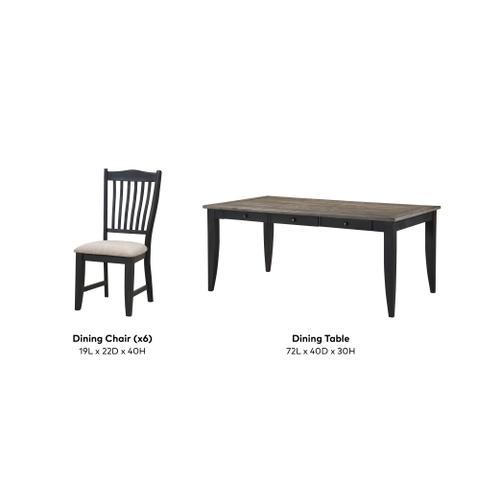 Buchanan 7 Piece Dining Set, Classic Black 1148-dining-7pc-k