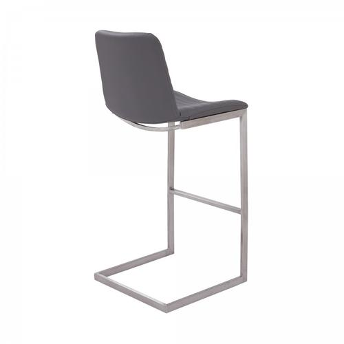 """Lucas Contemporary 30"""" Bar Height Barstool in Brushed Stainless Steel Finish and Grey Faux Leather"""