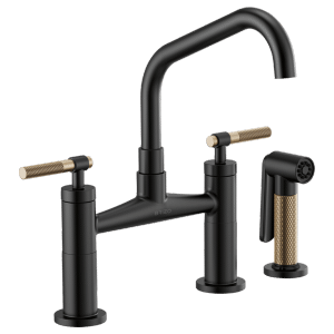 Bridge Faucet With Angled Spout and Knurled Handle Product Image