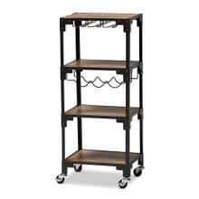 See Details - Baxton Studio Victor Industrial Rustic Walnut Finished Wood and Black Metal 4-Tier Mobile Wine Cart