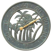 "18"" Palm Wall Thermometer Indoor Outdoor - Bronze Verdigris"