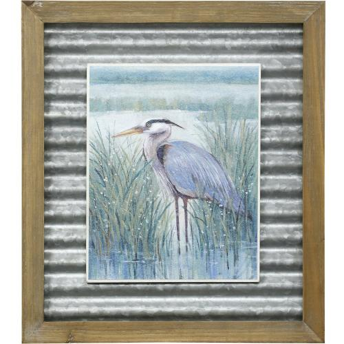 Style Craft - WETLAND HERON II  16in X 14in  Made in the USA  Textured Framed Print