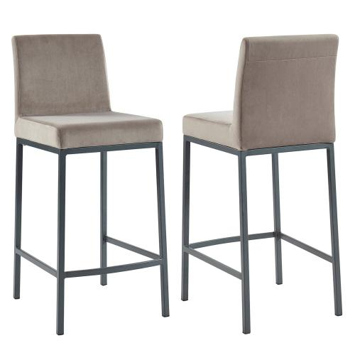 Diego 26'' Counter Stool, set of 2 in Grey/Grey Legs
