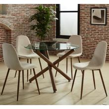 Rocca/Lyna 5pc Dining Set, Walnut/Beige