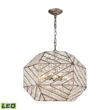 Constructs 8-Light Chandelier in Weathered Zinc with Clear Crystal - Includes LED Bulbs