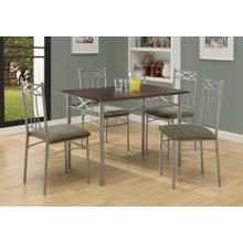 DINING SET - 5PCS SET / ESPRESSO / SILVER METAL