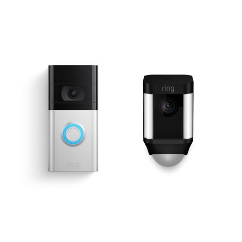 Ring - Video Doorbell 3 + Spotlight Cam Battery - Black