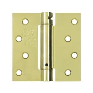 "4"" x 4"" Spring Hinge, UL Listed - Polished Brass"