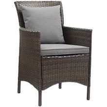 Conduit Outdoor Patio Wicker Rattan Dining Armchair in Brown Gray