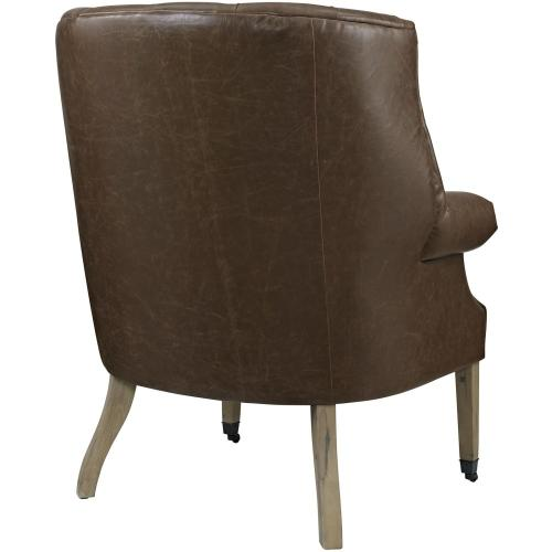 Chart Upholstered Vinyl Lounge Chair in Brown