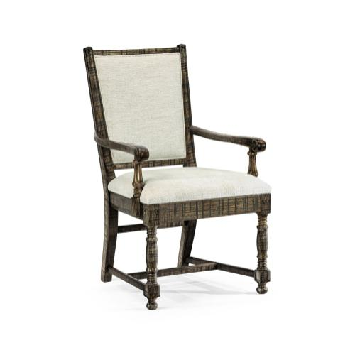 Distressed Country Dark Driftwood Arm Chair, Upholstered in Shambala
