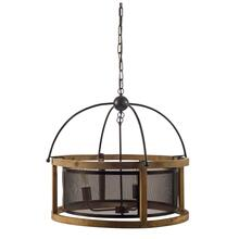 "Penhill (25""x24"") Black and Wooden Three Bulb Chandelier"