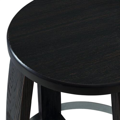 Galvanized Metal Footrest and Swivel Barstool, Dark Brown