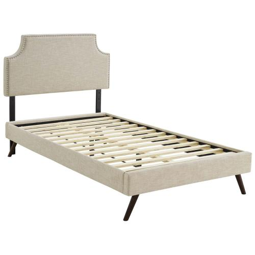 Corene Twin Fabric Platform Bed with Round Splayed Legs in Beige
