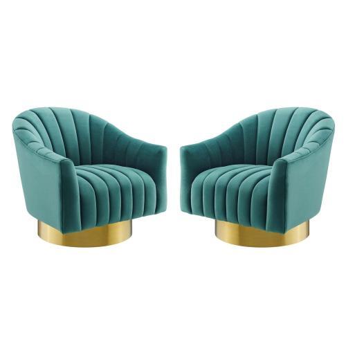Buoyant Swivel Chair Performance Velvet Set of 2 in Teal