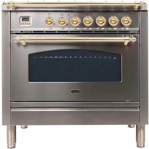 Nostalgie 36 Inch Dual Fuel Natural Gas Freestanding Range in Stainless Steel with Brass Trim