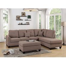 Iwan 2pc Sectional Sofa Set, Coffee-cotton-blend