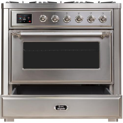 Product Image - Majestic II 36 Inch Dual Fuel Liquid Propane Freestanding Range in Stainless Steel with Chrome Trim