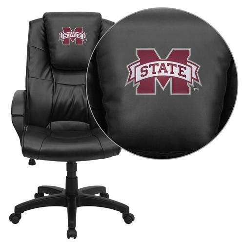 Mississippi State University Bulldogs Embroidered Black Leather Executive Office Chair