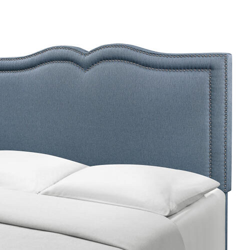 Glam Shaped Double Nailhead Trim Full Upholstered Bed in Classic Blue