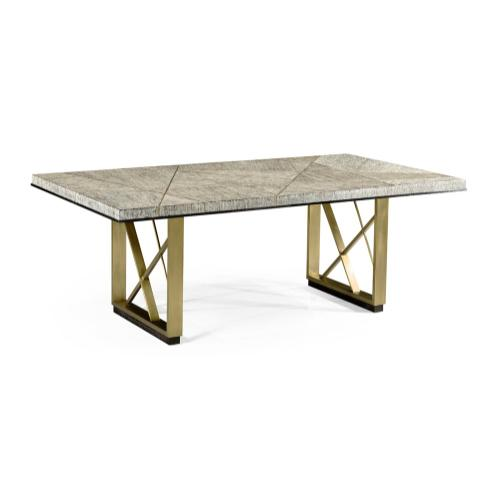 84'' Geometric Rectangular Dark French Oak Dining Table