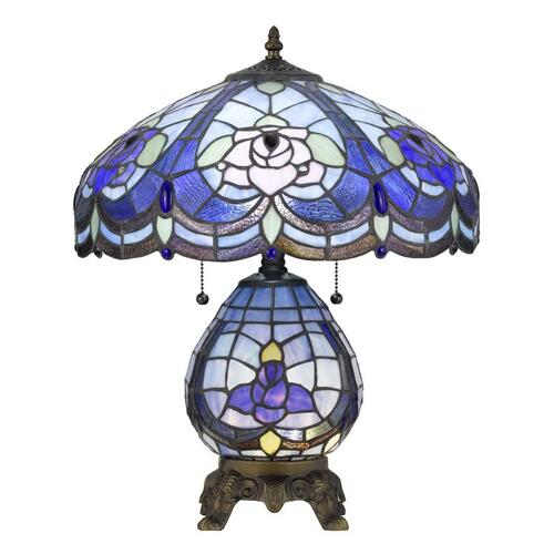 60W X 2 Tiffany Table Lamp With 7W Night Light