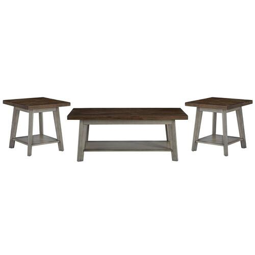 Fairhaven 3-Pack Accent Tables, Distressed Reclaimed Oak Plank Top, Grey Base