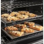 "Cafe Appliances 30"" Smart Slide-In, Front-Control, Dual-Fuel Range in Platinum Glass"