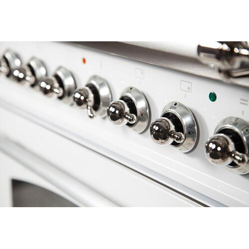 Nostalgie 40 Inch Dual Fuel Liquid Propane Freestanding Range in White with Chrome Trim