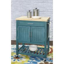 1-drawer and 2-door Kitchen Cart, Teal and Brown