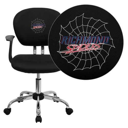 Richmond Spiders Embroidered Black Mesh Task Chair with Arms and Chrome Base