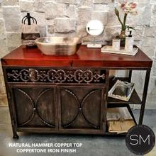 See Details - Vessel Onyx Marble Sink- Copper Counter Top Bathroom Vanity - - Natural Hammer Copper / Coppertone