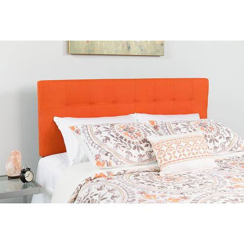 Bedford Tufted Upholstered Twin Size Headboard in Orange Fabric
