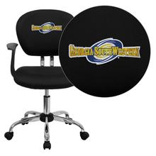 Georgia Southwestern State University Hurricanes Embroidered Black Mesh Task Chair with Arms and Chrome Base
