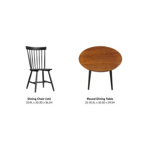 Midland 5 Piece Dining Set, Classic Gray & Black D475-12-20-06-5pc-k