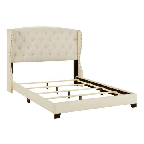 Accentrics Home - King Tufted Wing Bed in Linen