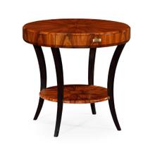 Art Deco round side table with drawer and brass handle (Satin)