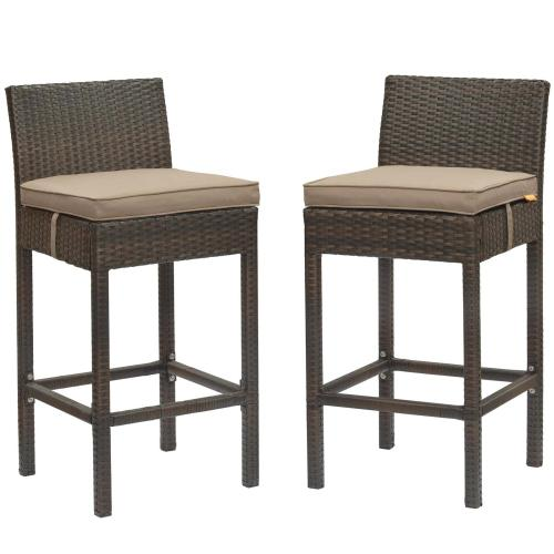 Conduit Bar Stool Outdoor Patio Wicker Rattan Set of 2 in Brown Mocha