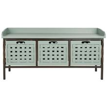 See Details - Isaac 3 Drawer Wooden Storage Bench - Dusty Green