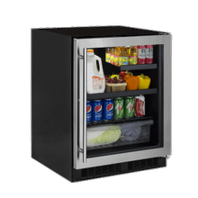 24-In Low Profile Built-In Beverage Center With Convertible Shelf And Maxstore Bin with Door Style - Stainless Steel Frame Glass
