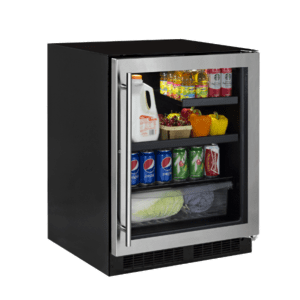 Marvel24-In Low Profile Built-In Beverage Center With Convertible Shelf And Maxstore Bin with Door Style - Stainless Steel Frame Glass