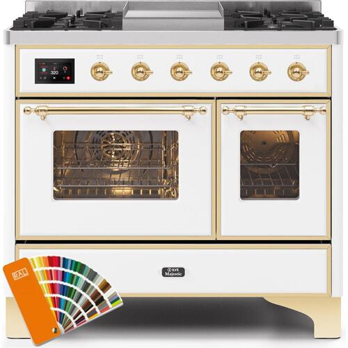 Majestic II 40 Inch Dual Fuel Natural Gas Freestanding Range in Custom RAL Color with Brass Trim