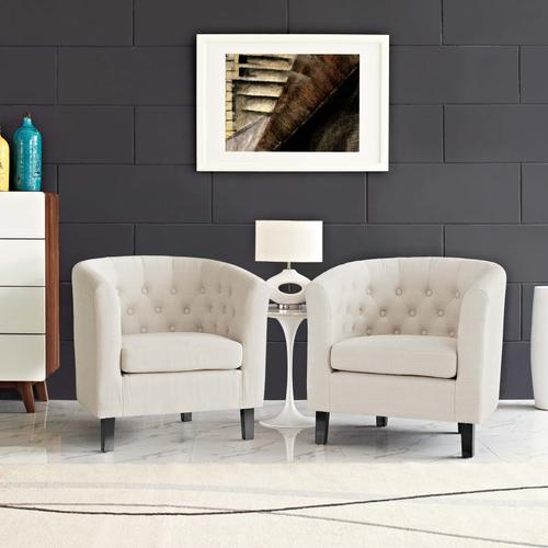 Modway - Prospect 2 Piece Upholstered Fabric Armchair Set in Beige