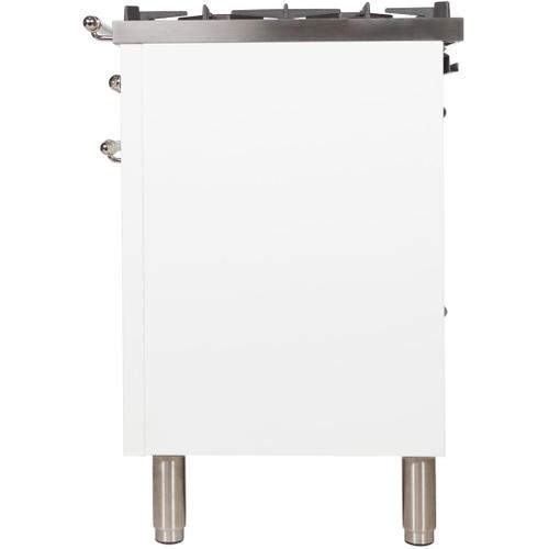 Nostalgie 30 Inch Dual Fuel Natural Gas Freestanding Range in White with Chrome Trim