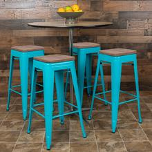 "30"" High Metal Indoor Bar Stool with Wood Seat in Teal - Stackable Set of 4"