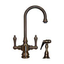 Vintage III dual-handle entertainment/prep faucet with a short gooseneck swivel spout, lever handles, and a solid brass side spray.