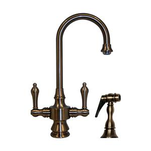 Vintage III dual-handle entertainment/prep faucet with a short gooseneck swivel spout, lever handles, and a solid brass side spray. Product Image