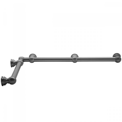 "Unlacquered Brass - G30 24"" x 60"" Inside Corner Grab Bar"