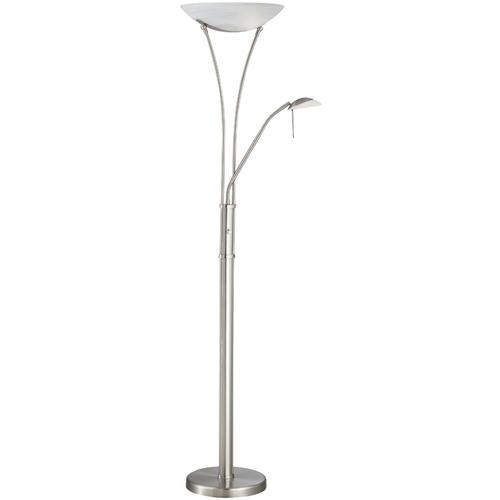 Torchiere/reading Lamp, Ps/frost, E27 Cfl 23wx2&jcd/g9 35w