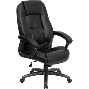 Gallery - High Back Black LeatherSoft Executive Swivel Ergonomic Office Chair with Deep Curved Lumbar and Arms